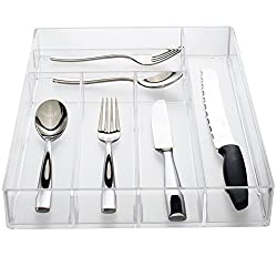 Kitchen organization products including a clear silverware organizer.