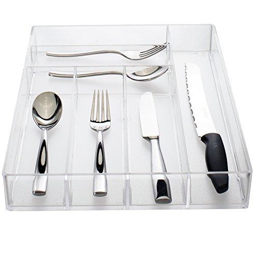 Clear Plastic Silverware and Utensil Organizer