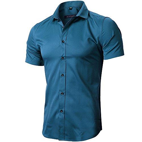 INFLATION Herren Hemd aus Bambusfaser umweltfreudlich Elastisch Slim Fit für Freizeit Business Hochzeit Reine Farbe Hemd Kurzarm Herren-Hemd Blaugrün DE L (Etikette 42)