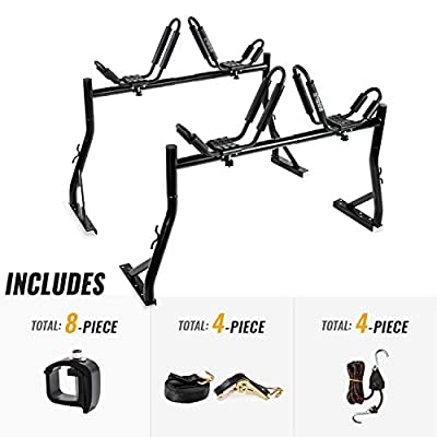 AA-Racks Model X35 Truck Rack with (8) Non-Drilling C-Clamps and (2sets) Kayak J-Racks w/ Extended Bolts and (2) Heavy Duty 1 Ton Ratcheting Strap
