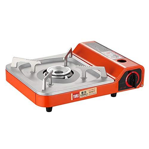 Quou - Cocina de gas para camping, portátil, resistente al viento, hornillo de gas, casete, camping, para barbacoas, protección contra sobrepresión, 2,1 kW, gran potencia de fuego