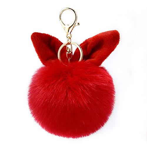 qhtongliuhewu Schlüsselanhänger aus weichem Kunstfell, zum Aufhängen, als Geschenk, rot