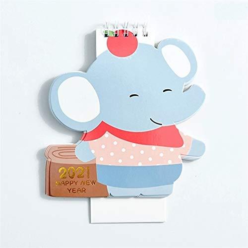 Calendario de Escritorio 2021 Calendario de escritorio linda del animal Horario planificador Tabla planificador hogar, oficina, dormitorio, comedor Calendar Escritorio (Color : Elephant)