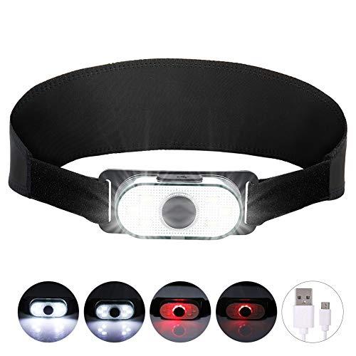 LED Stirnlampe Kopflampe, USB Wiederaufladbare Wasserdicht Kopflampe Scheinwerfer 6 COB LEDs 300LM 4 Leuchtmodi Leichtgewichts Mini Stirnlampen Rotlicht für Joggen, Lesen, Campen, Angeln