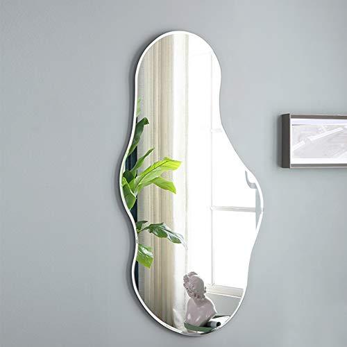 YXW Ganzkorperspiege Akzent Spiegel, Asymmetrischer Bad-Wandspiegel, Modernes Rahmenloses Bevel-Design, Spiegel im Wohnzimmer-Schlafzimmer-Eingang, 63×110cm