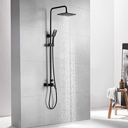 Auralum Negro Columna ducha con grifo Monomando, Set de ducha con barra, Conjunto de ducha de pared 25 X 20 CM Alcachofa Ducha Lluvia y Ducha de Mano. Sin Termostato
