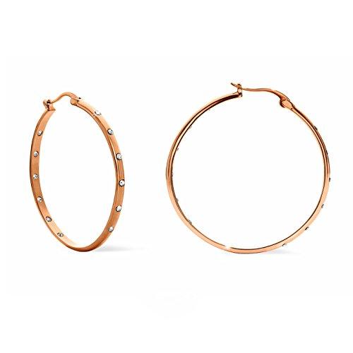 NOELANI Damen-Ohrringe Creolen rosévergoldet veredelt mit Kristallen von Swarovski