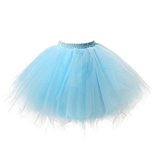 Omela Tüll Minirock Damen 50er Retro Tütü Rock Unterrock Kurz Ballett Swing Petticoat, Blau, 44-48