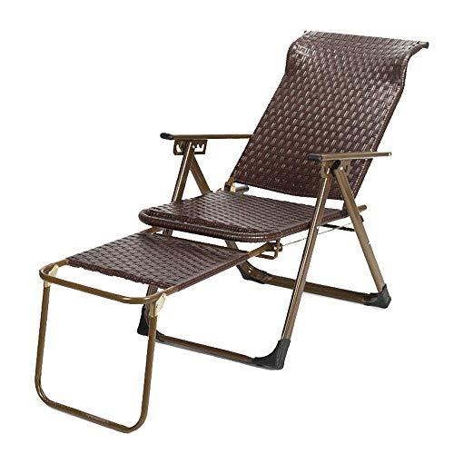 Tumbona Plegable sillón de Mimbre 90 Grados; -170 Grados; Ajuste de ángulo Grande con diseño de Almohadilla Antideslizante para el pie para la Sala de Estar del balcón Silla de Almuerzo negr