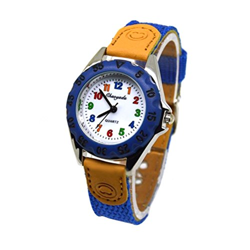 NICERIO Nette Jungen Mädchen Quarzuhr Kinder Kinder Stoff Strap Student Time Clock Armbanduhr (dunkelblau)