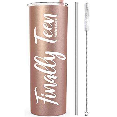 13 Finally Teen 20 Oz Stainless Steel Rose Gold Tumbler | Gifts For 13 Year Old Girl