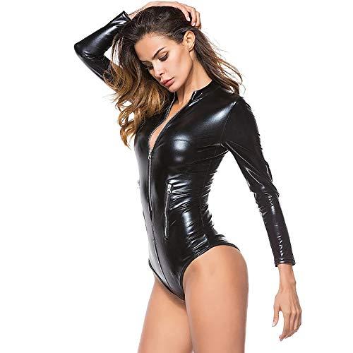 QY-Youth 3XL Frauen Weichen PU Leder Bodycon MIT Zipper Vorne Schwarz Elastische Leder Trikot Sexy Ultra-Dünne Patent Patent Leder PVC Pessio,M(S/M)