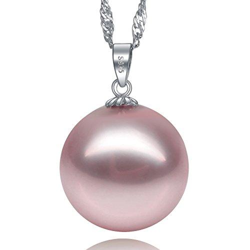 Perla Ciondolo Con Collana Pendente Argento 925, Elegante Faux Pendente Della Perla 18 Collana '
