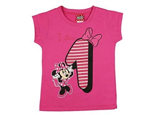 Mädchen Baby Kinder erster Geburtstag Kurzarm T-Shirt 1 Jahr Baumwolle Birthday Outfit GRÖSSE 86 Minnie Mouse Disney Design und Glitzer in Weiss oder Rosa Babyshirt Oberteil Farbe Weiss Farbe Rosa