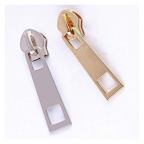 Simplicity 100Pc 5# Metal Nylon Gold And Silver Zipper Slider Head Puller DIY Handwork Bag Luggage for DIY Craft Tailor Bag (Color : Gold and silver)