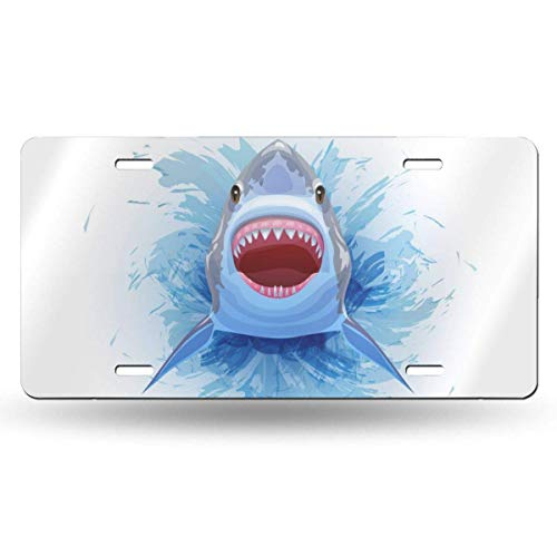 MISS-YAN License Plate Aluminum, Whale Diving Car Tag Cover Decorative License Plates for Front of Car Durable Metal Car Plate for Women/Girls/Men/Boys Vanity Gifts, 6 X 12 in