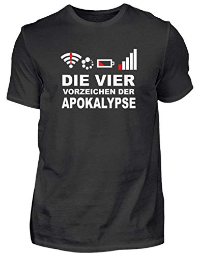 Die Vier modernen Vorzeichen der Apokalypse. Netz Weg, WLAN Weg, Akku leer, kein GPS - Herren Shirt -S-Schwarz