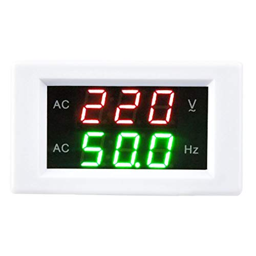 【𝐍𝐞𝒘 𝐘𝐞𝐚𝐫 𝐃𝐞𝐚𝐥𝐬】Anzeige LED Digital AC Voltmeter Amperemeter, Generator Dual Voltage Frequency Meter, Detektor Voltage Current Meter Panel Amp Volt Gauge(Weiß)