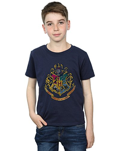 Harry Potter Jungen Hogwarts Distressed Crest T-Shirt 9-11 Years Marine