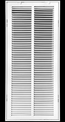 """12"""" X 30 Steel Return Air Filter Grille for 1"""" Filter - Fixed Hinged - Ceiling Recommended - HVAC Duct Cover - Flat Stamped Face - White [Outer Dimensions: 14.5 X 31.75]"""