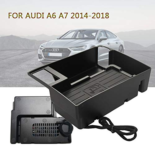 Smartphone houder auto voor Audi A6 A7 2014-2018,10W Wireless Charger Auto console snel draadloze oplader opbergdoos voor iPhone 8 X Xsmax