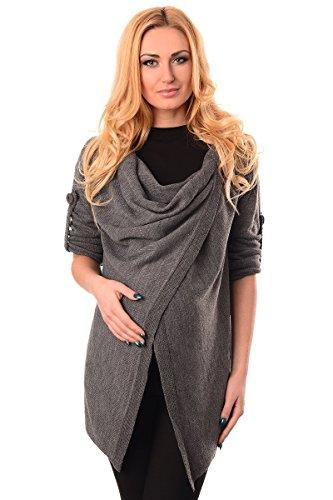 Purpless Damen Warm Schwangerschaft Strickjacke Still-Pullover Umstandskleidung 9005 (36/38 (UK 8/10), Dark Gray)