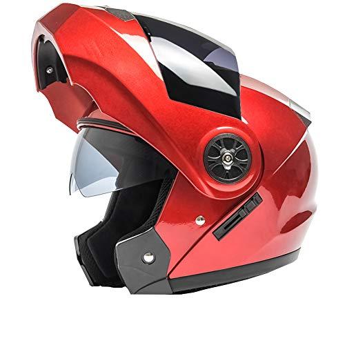 YXDDG Flip Casco Moto Anteriore Dual Sport Casco Viso Aperto Casco in Moto con Due Visiere per Adulto-Rosso A