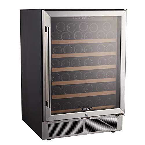 AMZCHEF 24' Wine Refrigerator, Wine Cooler Built-in or Freestanding 52 Bottle, Quiet, Constant Temperature, Energy Efficient