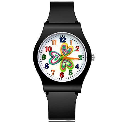 SFBBBO Reloj niño Moda Estilo Lindo en Forma de corazón Niños Niños Estudiante Niña Niños Correa de Goma de Cuarzo Relojes de Pulsera Negro