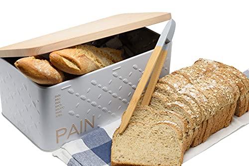 Pack»Caja Panera para Guardar el Pan de Metal Color Blanco con Tapa de Color Beige imitación Madera,con Bonito Estampado en...