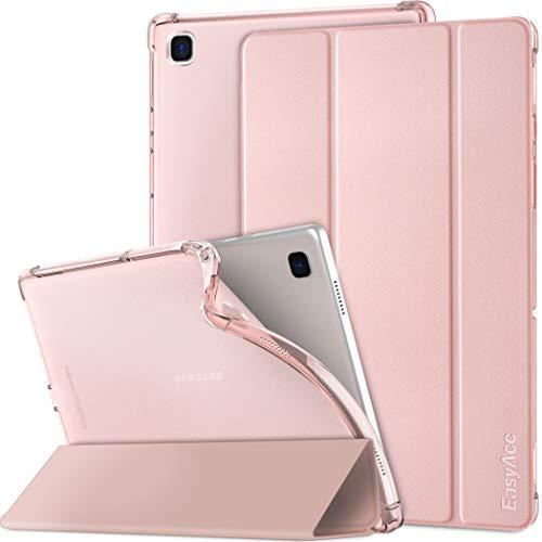 EasyAcc Funda Compatible con Samsung Galaxy Tab A7 2020 10.4 Pulgadas SM-T500 T505 T507, Superligera Translúcida Carcasa con Soporte Función Cover Case de TPU, Rosado