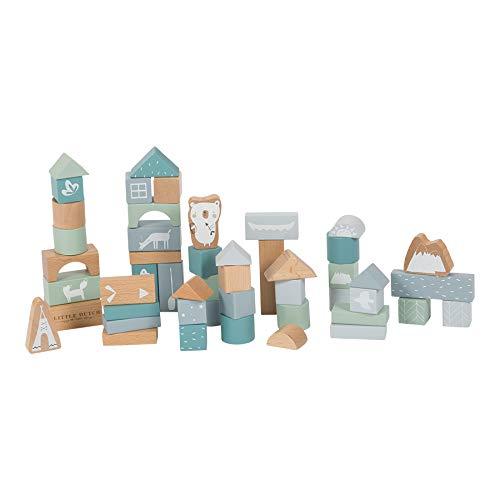 Little Dutch 4413 50 Holz-Bauklötze in Box Adventure, Blau