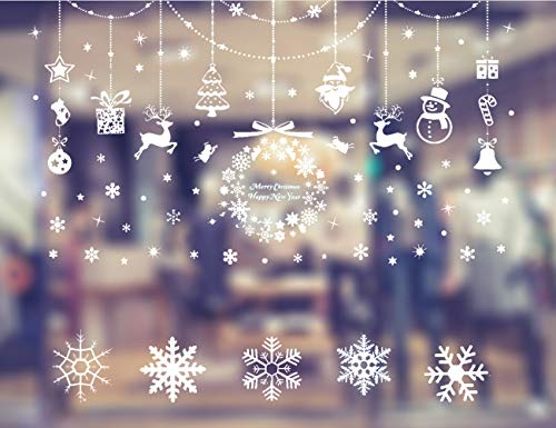 HIQE-FL Decoracion Navidad Escaparates,Navidad Decoración Ventana,Adornos Navideños,Navidad Pegatinas Ventana,Pegatinas de Navidad para Ventanas,Ventana de Navidad (B)