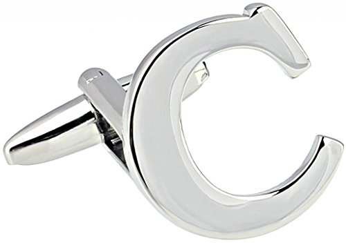 AMDXD Bijoux en acier inoxydable plaqué cuivre Boutons de manchette Chemise pour homme anglais lettres C Argent Boutons de manchette Collections