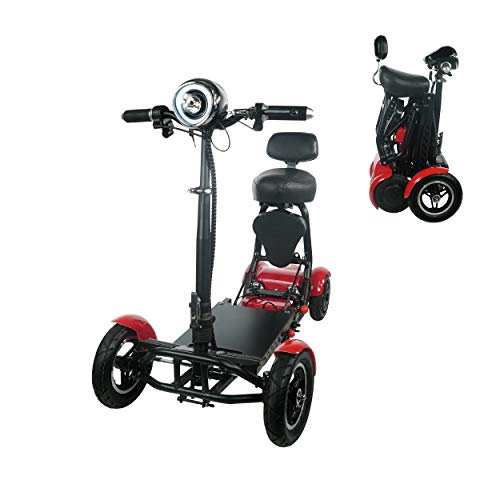 Foldable Lightweight Li-on Battery Power Mobility Scooters Easy Travel Electric Wheelchair Multi Terrain Scooter for Adults with Child Seat (Red)