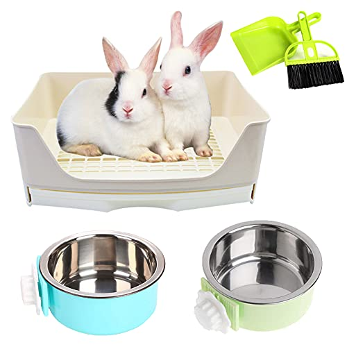 PINVNBY Rabbit Litter Box With DrawerFor Cage Bunny Corner Litter Pan Box Small Animal Litter Pan...