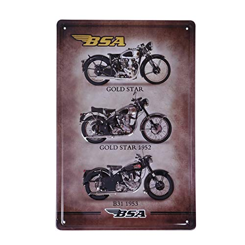 VOSAREA chapa moto,moto harley chapa,Cartel de chapa BSA Gold Star Motocicleta Vintage Hierro Pared Cartel Metal Cartel Puerta Pared Decoración