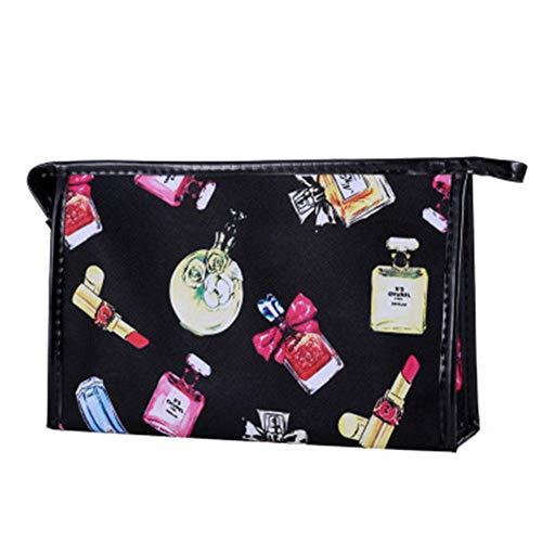 BIGBOBA Sac à cosmétiques, sac à cosmétiques multifonctionnel en polyester imperméable à l'eau portable, sac carré sac à cosmétiques (Noir)