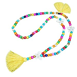 FILOL New Women Tassel Wooden Beads Necklace Pendant Bohemian Chain Jewelry Accessory (Yellow)
