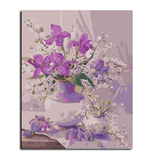 GKJRKGVF frameloze afbeelding muur acrylschilderij met cijfers abstracte tekening DIY olieverfschilderij van getallen 40 * 50cm bloem G410