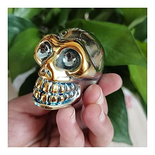 GOSOU Piedra de Tratamiento Cráneo galvanizado Colorido Deslumbrante Aura Tallada Skelleon Skullon para la decoración