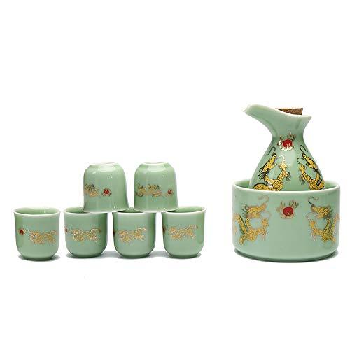 8-delige sakekop set, traditioneel handgeschilderd design porselein keramische beker handwerk wijn beker, Ssangyong patroon ontwerp handwerk beker, koud/warm/sake/shochu/thee, beste cadeau