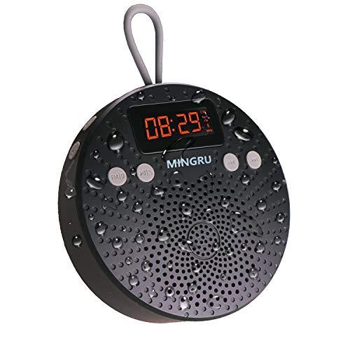 Radio de ducha Bluetooth 5.0 altavoz de ducha. 10 horas de tiempo de reproducción (batería de 1000 mAh), portátil, resistente al agua, manos libres, despertador, recargable mediante micro USB
