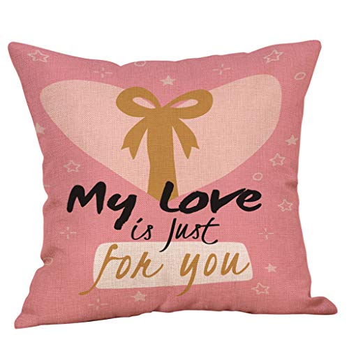 Yvelands Saint Valentin Style Lin Carré Taie d'oreiller Imprimé Romantique Doux Coussins Lombaires Coussins RelèVe-Jambes(A)