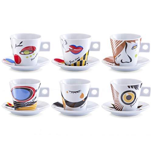 Zeller Faces - Juego de Tazas de café, 12 Piezas, Porcelana