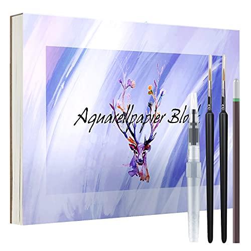 QMEEFB Papel para acuarela de 300 g, DIN A5, 40 hojas, bloc de acuarela, incluye pincel para depósito de agua, dos pinceles, papel para acuarela, dibujo, pintura