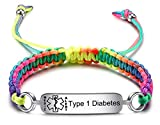 JF.JEWELRY Pre-Engraved Type 1 Diabetes Medical Alert ID Bracelets for Men and Women Braided Nylon Rope