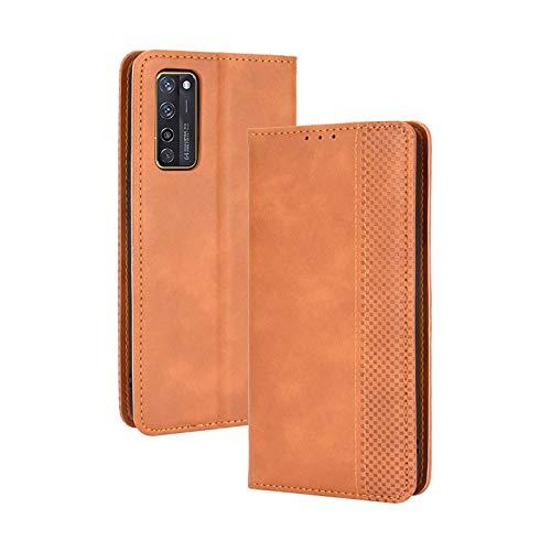 TOPOFU Leder Hülle für ZTE Axon 20 5G, Premium Flip Wallet Tasche mit Ständer & Kartenfächer, PU/TPU Magnetic Lederhülle Handyhülle Schutzhülle für ZTE Axon 20 5G (Braun)