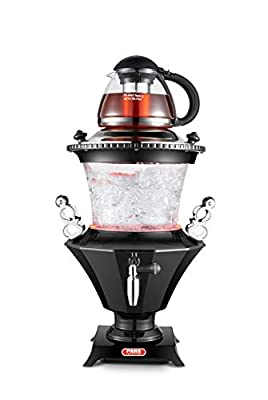New 2019 Modern Electric Glass Samovar Tea Maker, Stainless Steel Lid, Persian Samovar, Russian Samovar, Turkish Samovar with Glass teapot/Black