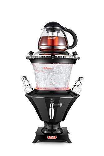 New 2019 Modern Electric Glass Samovar Tea Maker, Stainless Steel Lid, Persian Samovar, Russian Samovar, Turkish Samovar with Glass teapot/Black